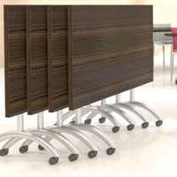 Image of rolling table legs and table bases - back savers!