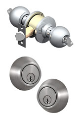 Images of a double cylinder deadbolt mechanism.