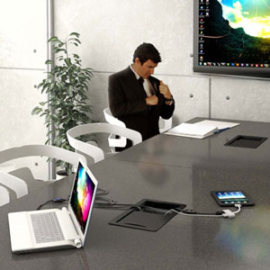 Marina units offer a built in solution that allows several meeting attendees to share one screen.