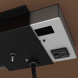 The Interact grommet offers the option of power outlets above and below the desktop.