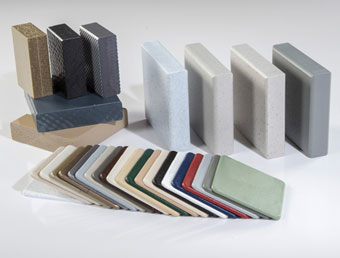 Assortment of Solid Plastic partition material samples.