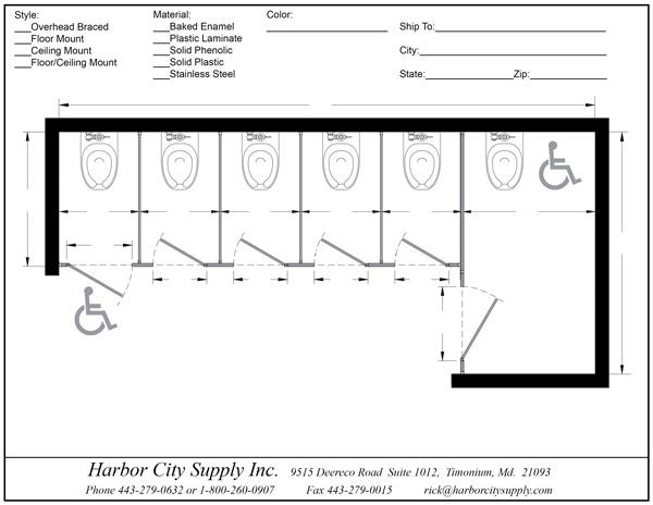Bathroom Partitions - 6 Stalls Alcove Right Hand | ADA ...