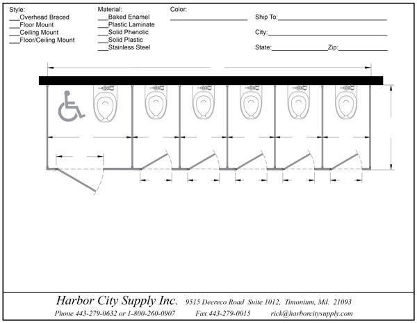 Bathroom Partitions Stalls Free Standing Left Hand ADA - Bathroom measurements for fixtures