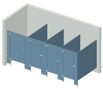 Illustration of a Floor Mounted partition configuration.