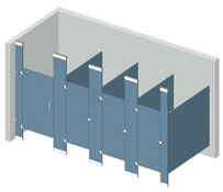 Illustration of a Floor to Ceiling Mounted partition configuration.